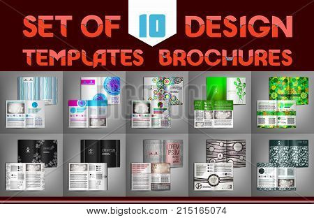 Set of 10 design templates brochures, flyer, leaflet, presentation covers, annual report, magazine. Modern dynamic creative design. Vector illustration layout.