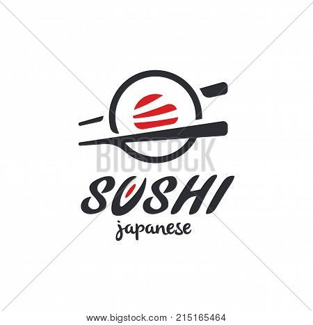 Sushi and rolls with chopstick bar or restaurant vector logo template. Japanese or chinese traditional cuisine, tasty food icon. Abstract black and red color for asian emblem