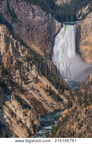 Yellowstone Falls And River Carve Into Canyon