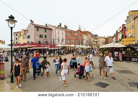 ROVINJ CROATIA - AUGUST 28 2017: Pedestrian zone in Rovinj a historial city in Croatia situated on the western coast of the Istrian peninsula packed with tourists and holidaymakers