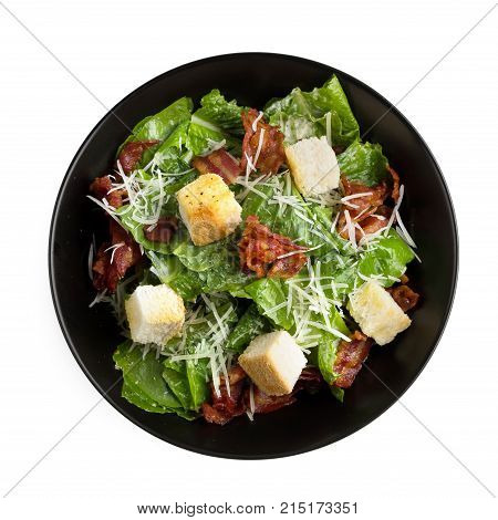 Caesar Salad With Crispy Bacon Fry And Fresh Green Cos Lettuce Isolated On White Background