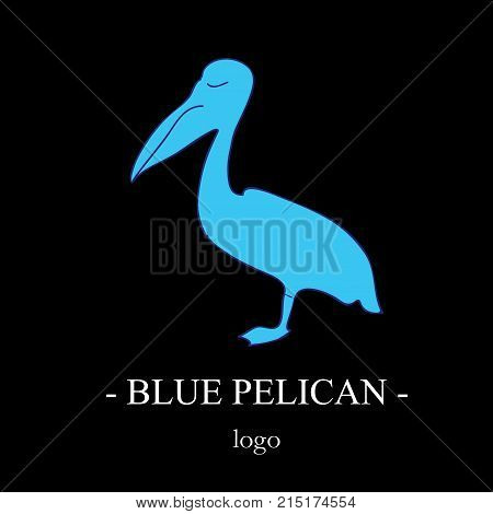 The blue silhouette of the pelican in profile, standing on one leg. A bird's trafoon on a black background. Simple stylish logo. Stylized sign of wildlife in a marine style.