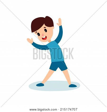 Smiling little boy character doing sport exercise, kids physical activity cartoon vector Illustration isolated on a white background