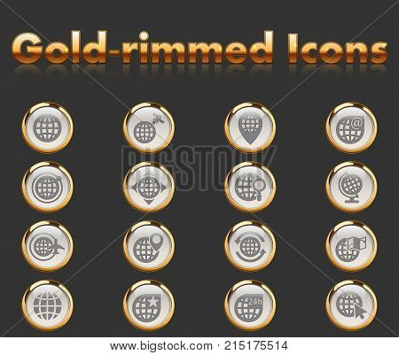 globes gold-rimmed icons for your creative ideas