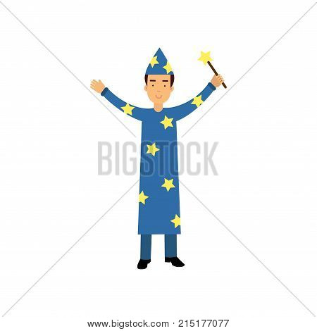 Magician in a blue suit and cap with stars holding a magic wand, circus performer vector Illustration isolated on a white background