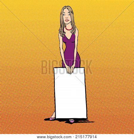 Smiling girl holding a blank placard. Smiling girl holding a poster. Presentation skilles. Pop art girl.