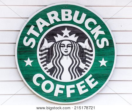 Myrtle Beach, South Carolina, USA - February 9, 2015: Starbucks logo on a store exterior in Myrtle Beach, South Carolina.