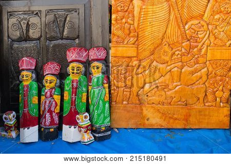 Wooden handicrafts on display during the Handicraft Fair in Kolkata. It's the biggest handicrafts fair in Asia.