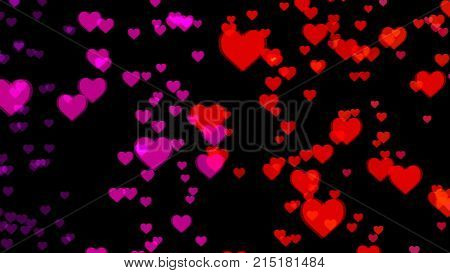 Abstract background with colorful hearts. 3d rendering