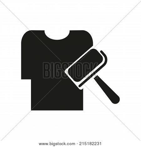 Simple icon of shirt and adhesive roller. Dry cleaning, clothes care, domestic equipment. Mall wayfinding concept. Can be used for topics like service, housework, hygiene poster