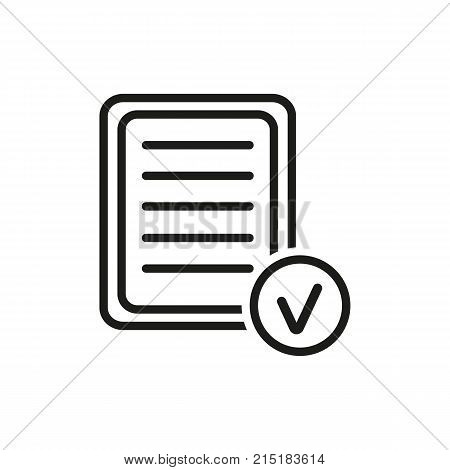 Icon of list with checkmark. Document, test, note. Noting concept. Can be used for topics like self management, exam, research.