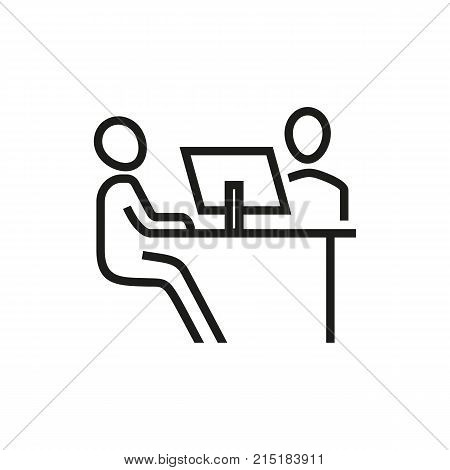 Two people meeting at one of them work place. Job interview, candidate, human resource. Recruitment concept. Can be used for topics like head hunting, employment, work search.