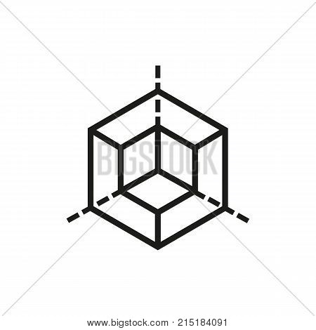 Hexagon with three bisecting lines. Geometric figure, pattern, layout. Modeling concept. Can be used for topics like target, geometry, drafting.
