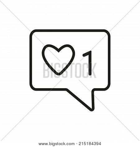 Speech bubble with heart and one number Chatting, social network, Internet. Communication concept. Can be used for topics like social network, media, online communication