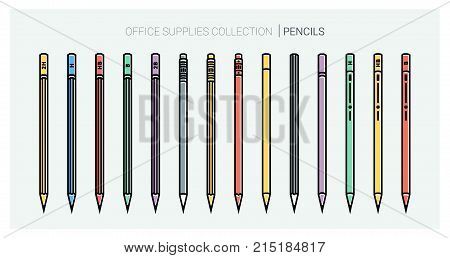 Office supplies collection. Pencils set. Writing tools. Outline style. Pencil thin line vector icons with diferent classic design. Back to school. Writing materials, srationery. Vector illustration