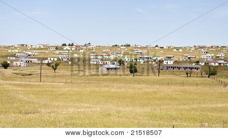 Shacks in Transkei South Africa corrugated iron rural