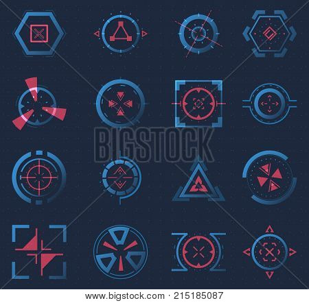 Set of isolated aim of sniper weapon or futuristic game target, hud icon for crosshair, accuracy sign for ui or radar location. Aiming and military, rifle and gun, optical and radar location theme poster