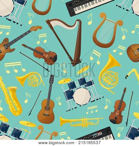 Seamless pattern made of different music instruments for sound or audio wrapper. Trumpet and drum kit or trap set, violin and lyre, saxophone or sax, guitar. Ensemble, performance, record studio theme