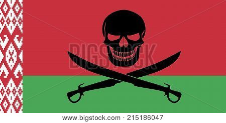Pirate Flag Combined With Belarusian Flag