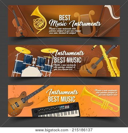 Set of isolated flyers or banners with brass and string musical instruments for rock and pop. Violin with fiddlestick and trumpet, drums and harp, lyre and keyboard. Song and audio, sound theme
