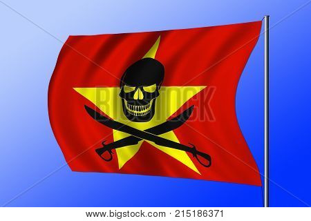 Waving Pirate Flag Combined With Vietnamese Flag