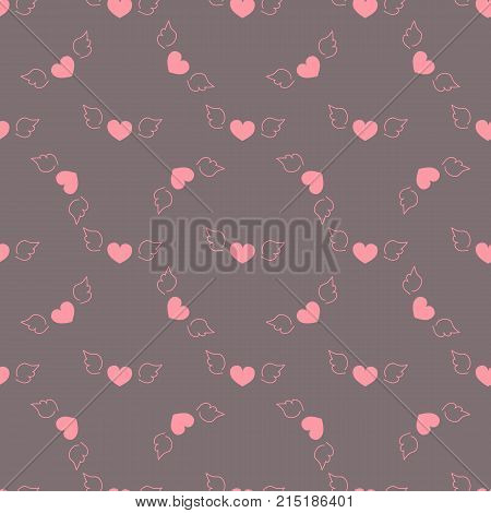 Doodle Seamless pattern romantic valentine flying pink hearts with wings dark purple background fabric wallpaper quilting