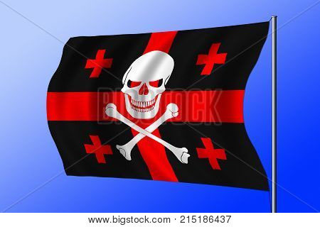 Waving Pirate Flag Combined With Georgian Flag