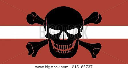Pirate Flag Combined With Latvian Flag