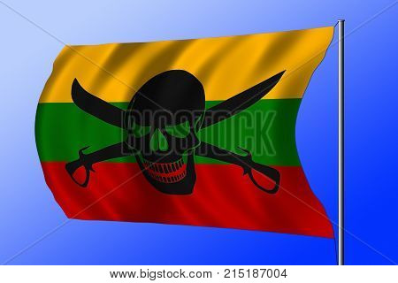 Waving Pirate Flag Combined With Lithuanian Flag