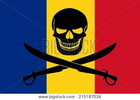 Pirate Flag Combined With Romanian Flag