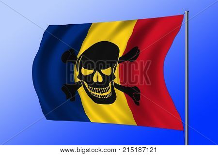 Waving Pirate Flag Combined With Romanian Flag
