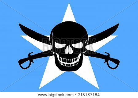 Somalian flag combined with the black pirate image of Jolly Roger with cutlasses