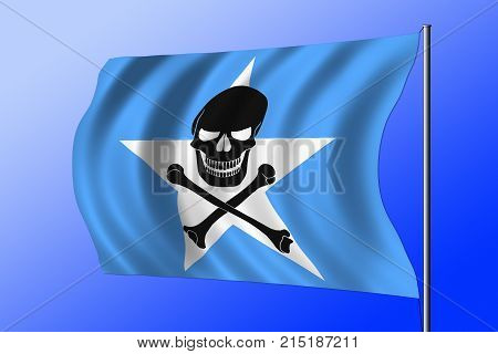 Waving Somalian flag combined with the black pirate image of Jolly Roger with crossbones