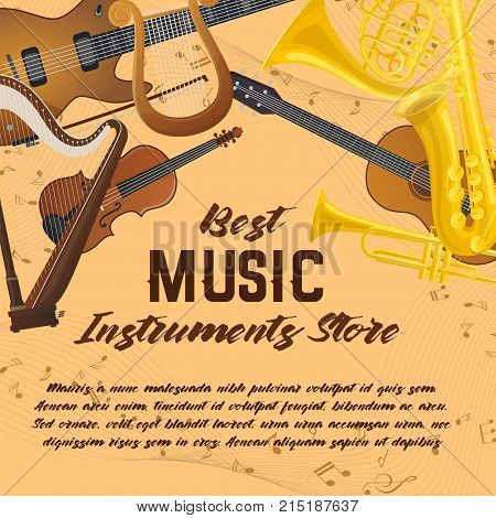 Notes behind music instruments, sound equipment, audio accessories. Violin with bow or fiddlestick, lyra and trumpet, saxophone and harp. Musical store and shop, record studio and concert theme