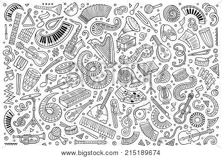 Vector hand drawn doodles cartoon set of classical musical instruments objects and elements