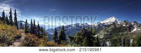 Panoramic view of Mount Baker from Lookout Point near Bellingham, WA.