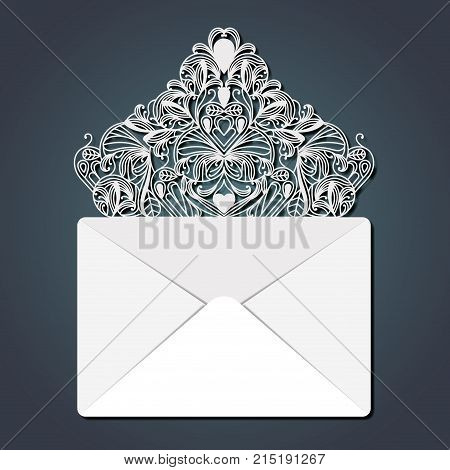 laser cutting in flap of envelope with decorative forms in steel blue color background vector illustration