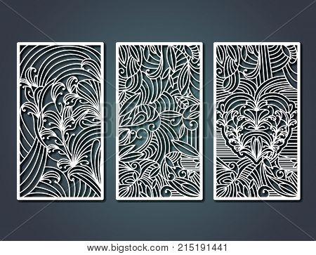 laser cutting rectangular frames with decorative floral forms in steel blue color background vector illustration