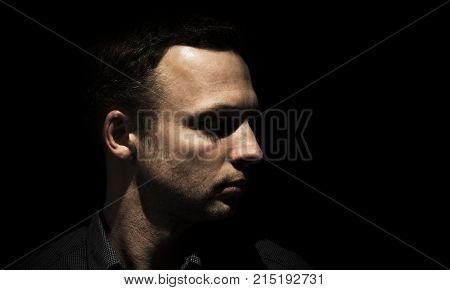 Profile Portrait Of Young Adult European Man