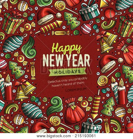 Cartoon vector doodles Merry Christmas and New Year objects frame card design. Colorful detailed, with lots of objects illustration. Bright colors holidays funny border