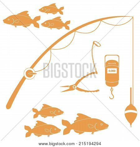Stylized Icon Set Of Different Tools For Fishing And Flocks Of Fish