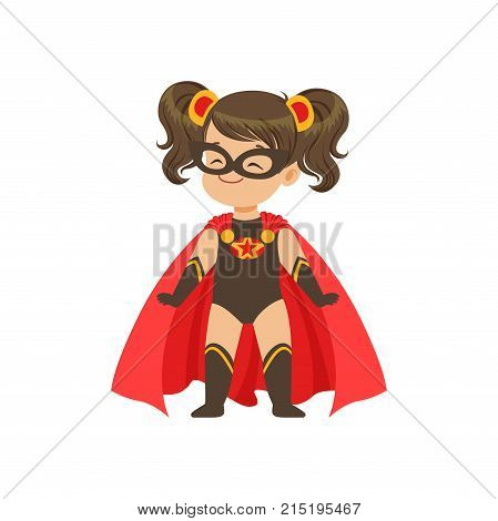 Comic brave kid in superhero black costume with star, mask and developing in the wind red cloak, standing on legs wide apart. Child with extraordinary power. Vector cartoon flat super girl character.