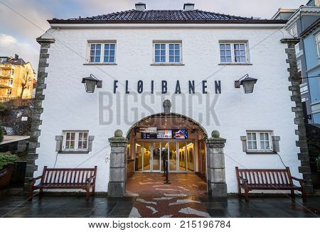 Bergen Norway - January 1 2016: Floibanen - entrance to the lower station of a funicular transporting passangers to Mt. Floyen. Operates daily serves as part of public transportation and tourist attraction.