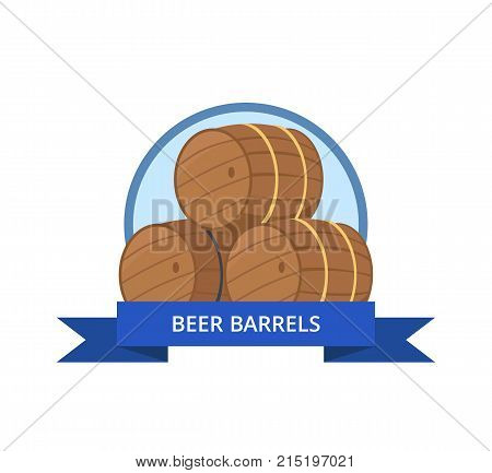 Beer wooden barrels logo vector illustration isolated in circle with blue ribbon.. Three casks or tuns hollow cylindrical container, made of wood staves