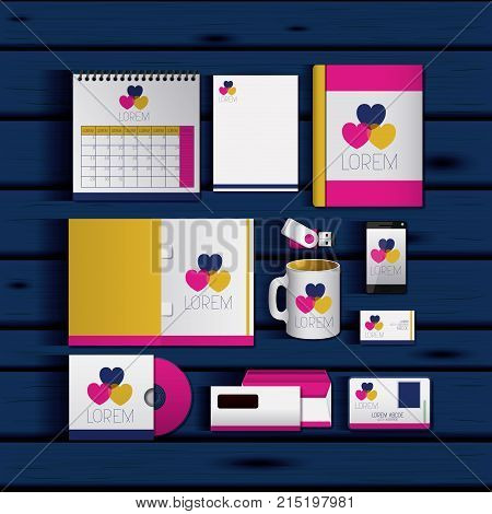 stationary templates of documentation romantic date design of business stationery over blue wooden background vector illustration