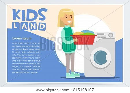 Blue card or poster with young girl standing with a basin with dirty laundry in hands near washing machine. Children doing household chores. Colorful flat style cartoon character vector illustration.