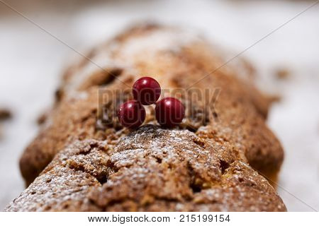 closeup of a fruitcake for christmas time sprinkled with icing suga, placed on a wooden rustic surface
