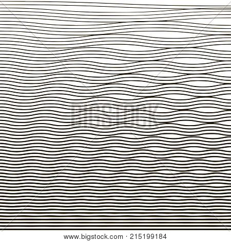 Ripple texture. Water depth. Thin line wave background. Linear halftone. Banner card poster. Vector illustration.