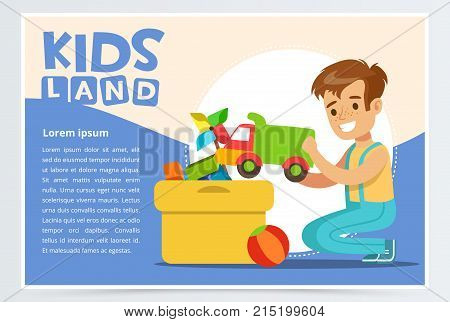 Cute boy putting his toys in special box. Kid doing home cleanup, household chores. Teenager cleaning his room. Creative blue card with place for text. Colorful flat style cartoon vector illustration.