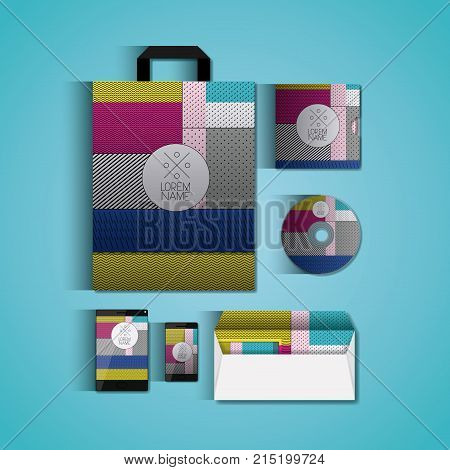 stationary templates with texture colours business stationery on aquamarine background vector illustration
